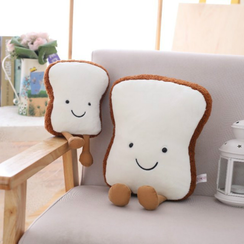 New Lentinus Edodes Toast Plush Pillow Creative Large Bread Cushion Pillow Office Lunch Pillow