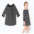Black Dot Girl Dress Kids Autumn Fille Casual Costume European Style Fashion Show Costume Summer Girl Party Clothes Black Dot 4T