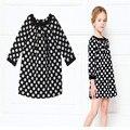 Preto Dot vestido da menina crianças outono Fille traje Casual desfile de moda estilo europeu traje de verão menina roupas de festa preto Dot 4 T