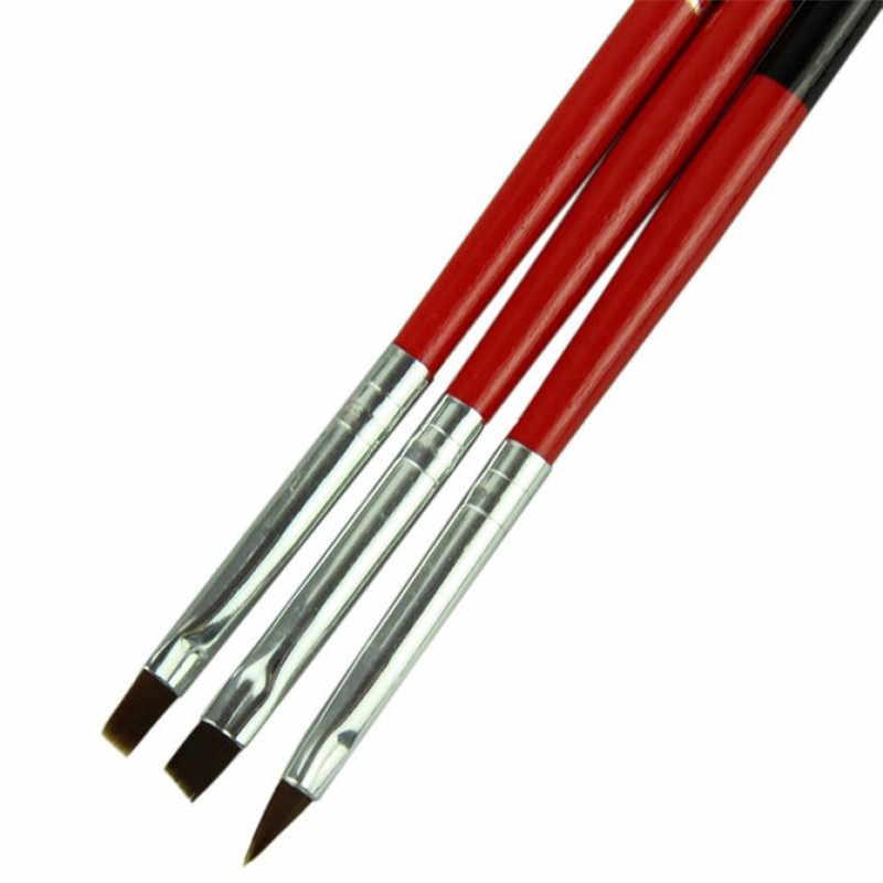 2017 mode 3 teile/los nagel werkzeuge Rot Weich und Berufs Stift Nail art Pinsel Werkzeug Set nagel pinsel pinceau gel gel penseel