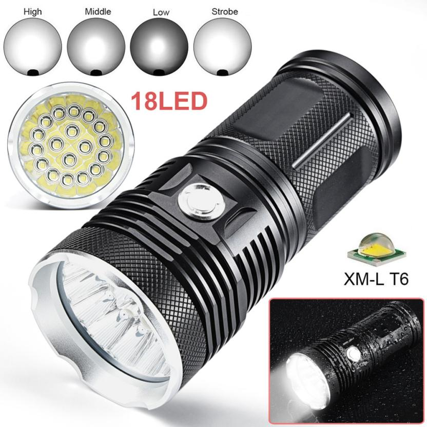 HOT 45000LM 18 x XM-L T6 LED 4 Modes Flashlight Torch 4 x 18650 Hunting Lamp Shock-proof White Light Outdoor Cycling Caming PJ4 bike bicycle light head lamp 18 x xm l t6 led 4 modes flashlight torch 4 x 18650 hunting lamp a1