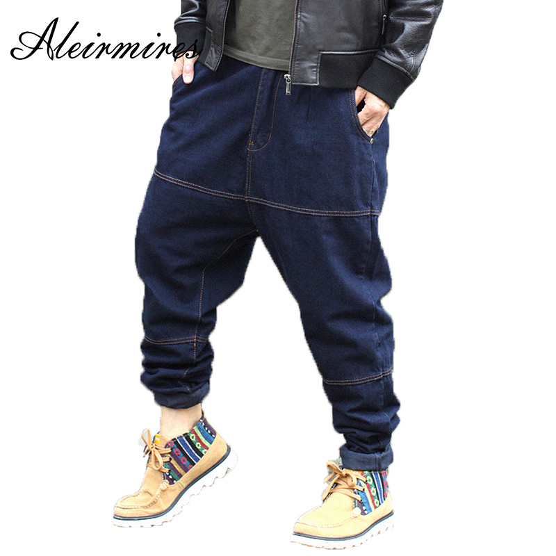 Aleirmires Men Harem Jeans Autumn Winter Hip Hop Plus Size Low Crotch Baggy Jeans Fashion Denim Pants Blue Color Streetwear