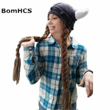 цены на BomHCS Funny Ox Horns Beanie with Big Braid Handmade Knitted Wigs Hat Winter Thick Cap Gift  в интернет-магазинах