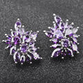 Noble Design Purple Stone Cubic Zirconia Silver Jewelry For Women Fashion Stud Earrings Free Shipping PE059
