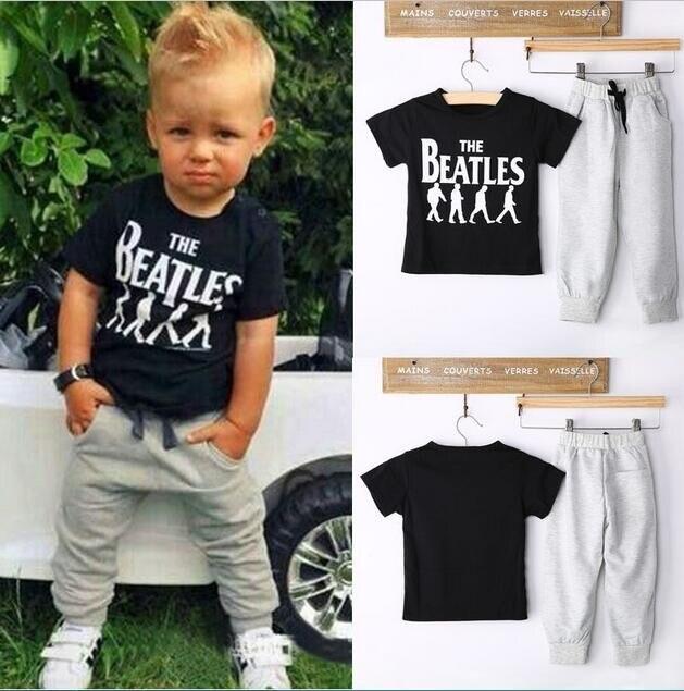 New 2017 Kids children boys clothes set Cotton Short sleeve T-shirt+pants Fashion 2pcs suit baby boys clothing