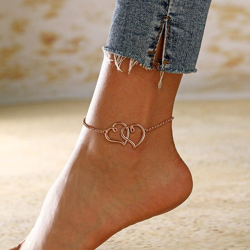 Браслет на ногу XIYANIKE с большим полым сердцем, регулируемый пляжный браслет на ногу, Ювелирное Украшение для лета, золотистого и серебристог...