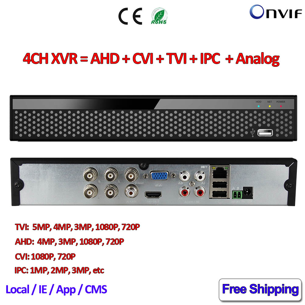 4 Channel 5in1 ahd dvr for AHD-H AHD-M 960H CVI TVI IPC CCTV camera nvr 4ch for 5MP TVI Security 4MP AHD surveillance 1080P CVI