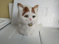 about 13x9x15cm yellow head white cat with bell. polyethylene&furs handicraft Miniatures decoration toy gift a2289|cat cat|cats white|cat cat cat -