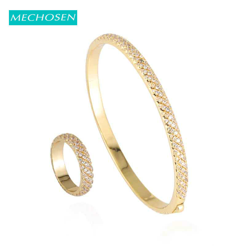 METCHOSIN Luxury Simple Round Full CZ Zircon Bangle Ring Dubai Gold Color Bride Women Wedding Jewelry Set Para As Mulheres 2019