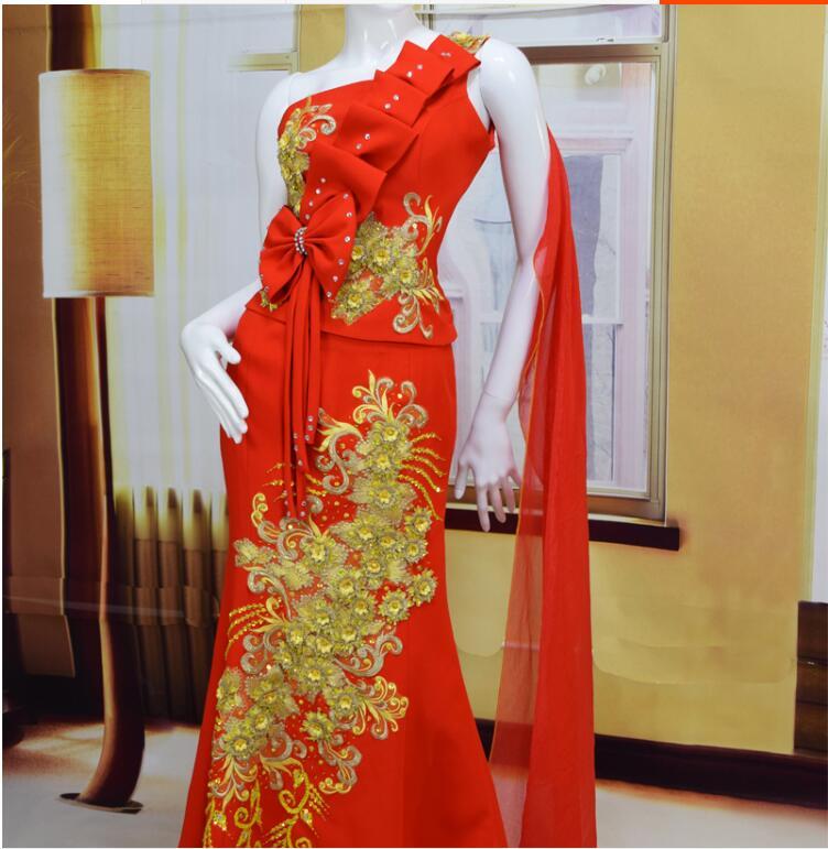 Exquisite Luxury Thailand Wedding Dress Red Thai Style Party Dress Thailand Mermaid Evening Dress