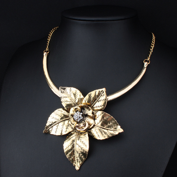 Fashion Vintage Jewelry Antique Gold/Silver Big Flower Pendant Necklace Statement Choker Necklace & Pendants For Women XLL173