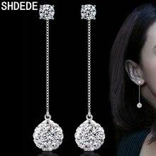 SHDEDE Cubic Zirconia Long Drop Earrings Jewelry For Women CZ Crystal Beads Eardrop Valentines Day Gift *+WHG37