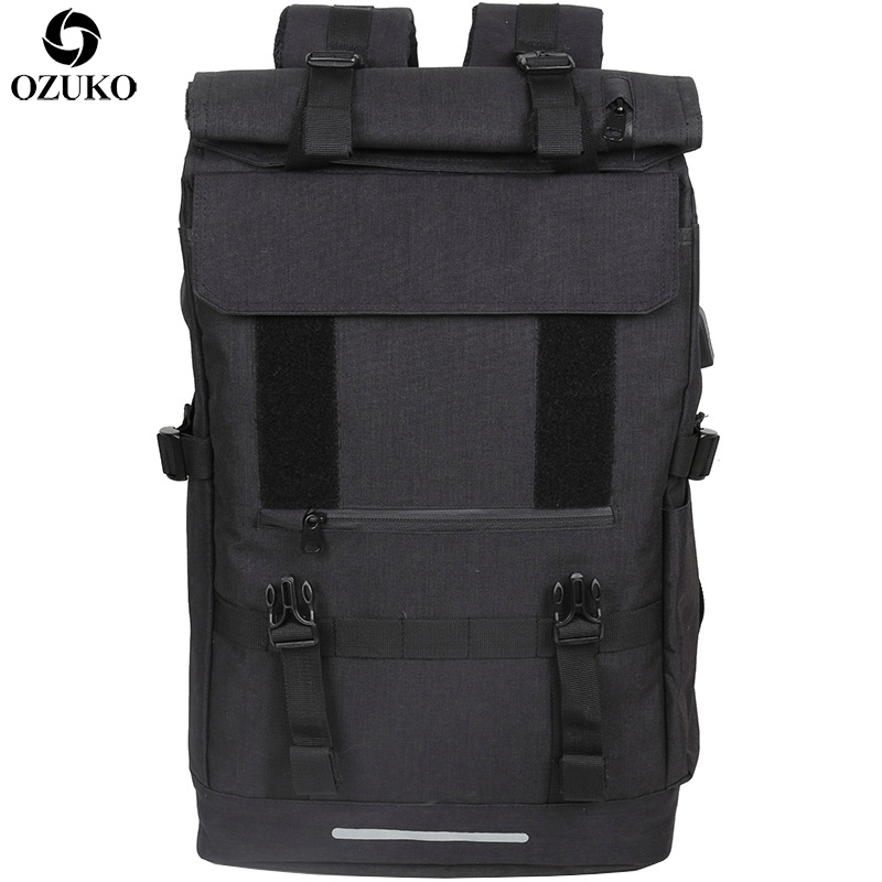 OZUKO New 40L Large Capacity Travel Backpacks Men USB Charge Laptop Backpack For Teenagers Multifunction Travel Male School Bag monochrome