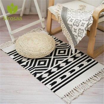 Retro Karpet untuk Sofa Ruang Tamu Kamar Tidur Karpet Katun Jumbai Benang Dicelup 60X130 Cm Tabel Pelari Seprai Permadani dekorasi Rumah
