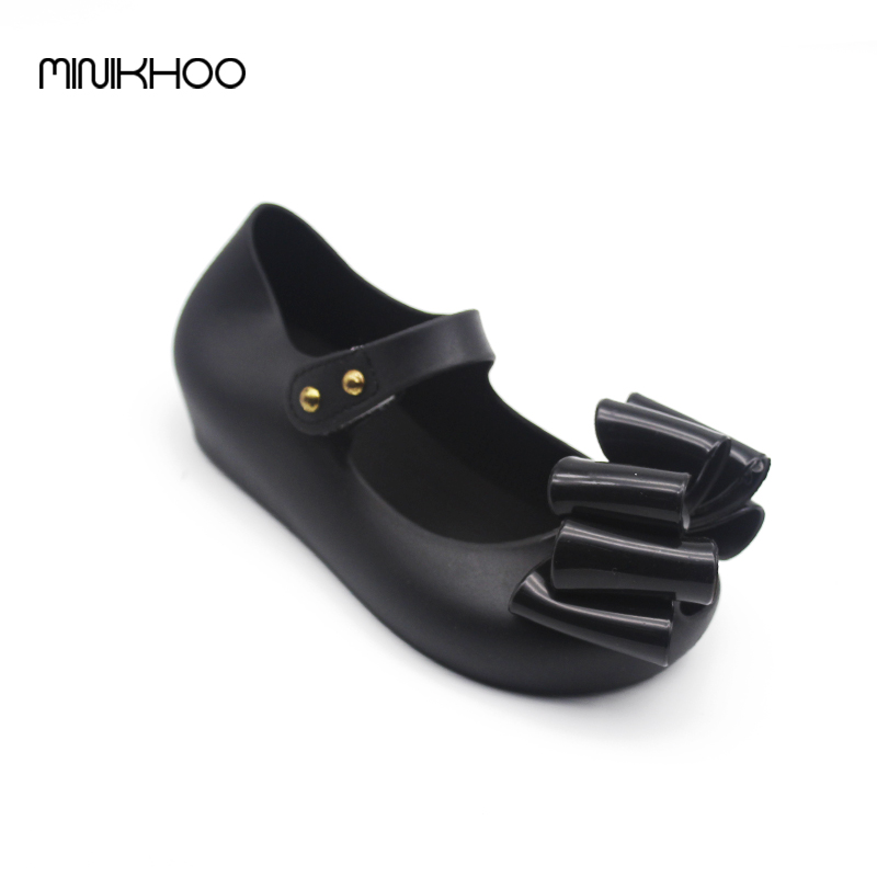 Mini Melissa Large Bow Korea Jelly Shoes Bow Flat Sandals Plastic Sandals Girls Melissa Sandals Sapato Infantil Menina Shoes