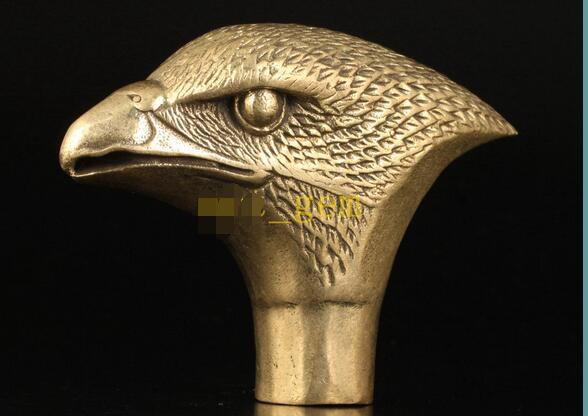 100% brass Pure Copper Brass Grandpa Good Lucky Chinese Vintage Old Brass Eagle Cane Walking Stick Head Handle Decoration