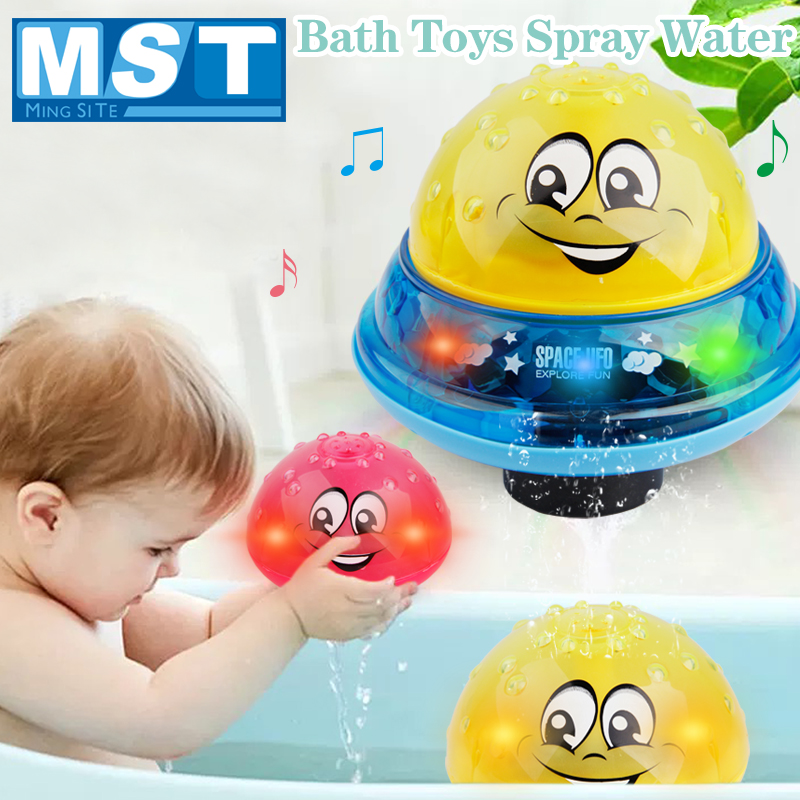 Funny Baby Bath Toys Spray Water Sprinkler Ball Light Rotate With Shower Pool Kids Toy Swimming LED Light Toys Water Games