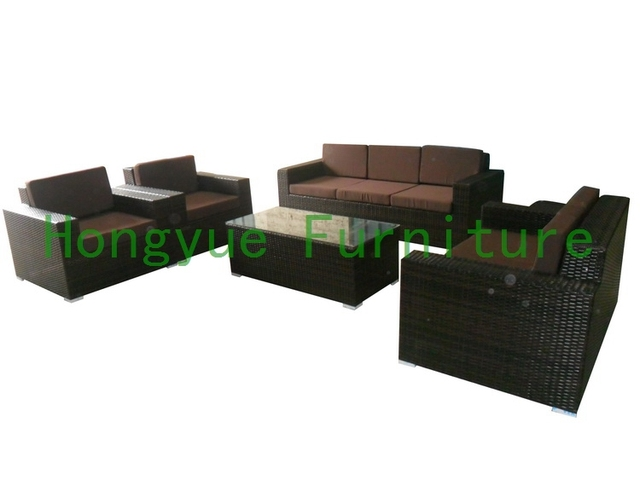 brown rattan living room sofa