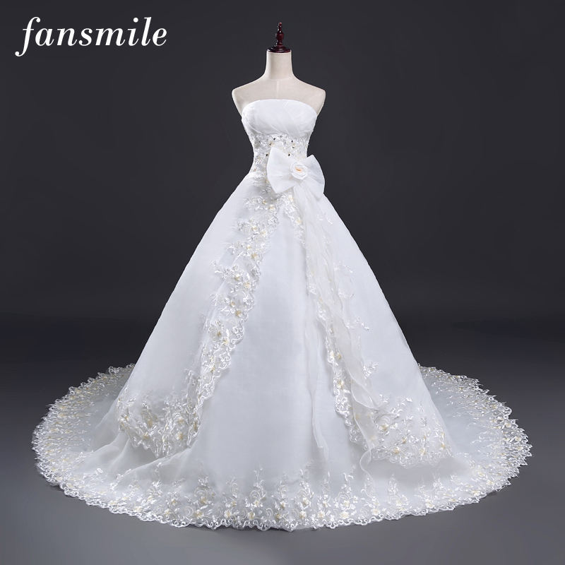 Fansmile Free Shipping Lace Long Train Ball Wedding Dresses 2019 Plus Size Vintage Bridal Gown Robe