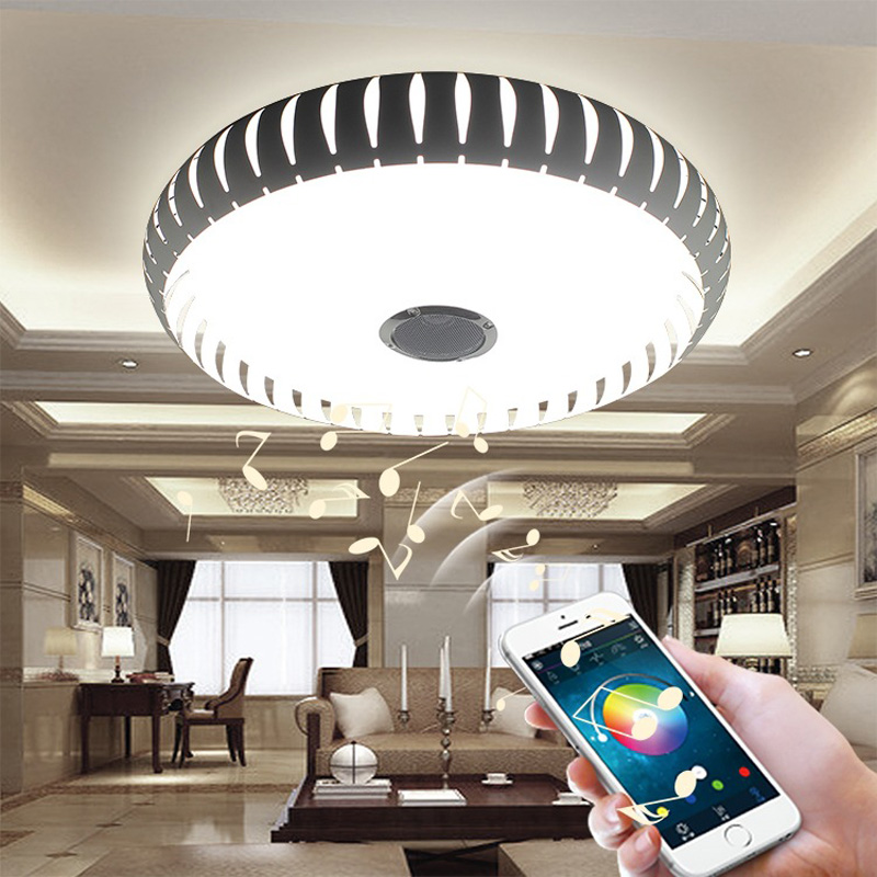 Wireless Bluetooth 4.0 Control LED Ceiling Light Music & Multi-Colors Changing Smart led ceiling lamp metal & Acrylic lampshade