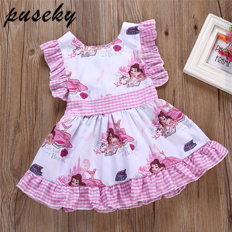 fd2774c52366 Puseky 2018 Summer Baby Girl Dresses For Girls Princess Cartoon Dress Print  Party Dress Trolls Costume Kids Costume Vestido 1-5Y