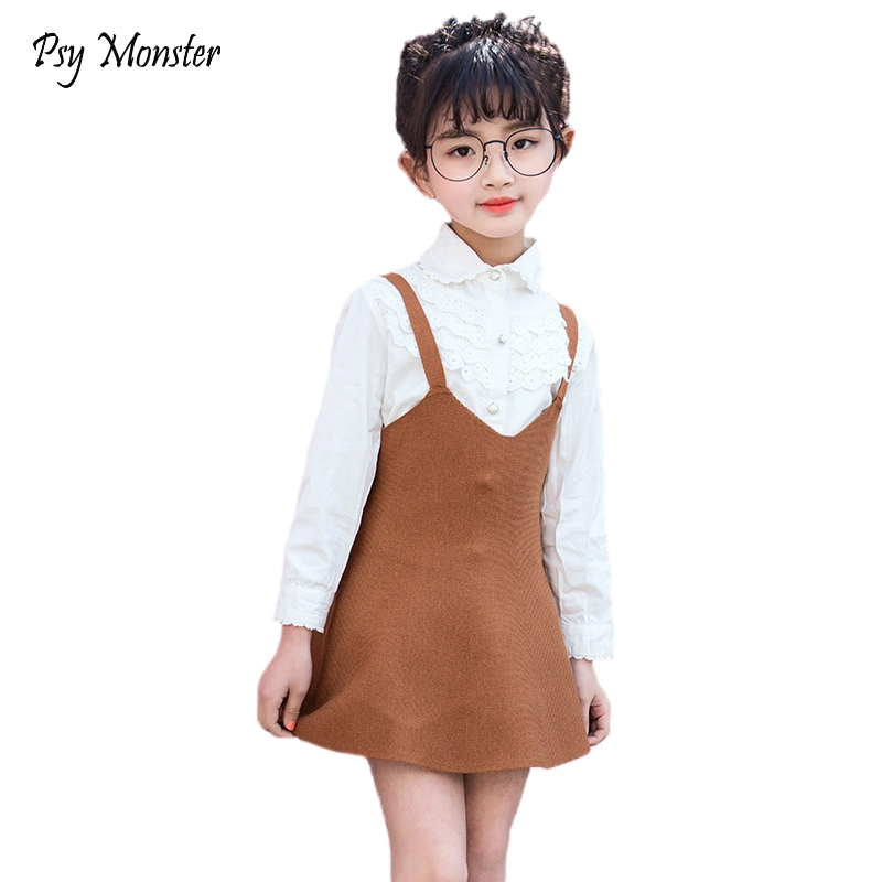 2018 Children's Skirt Kids Wool Blend Skirt Knit Toddlers Baby Girls Suspender Strap Swing Jumper Skirt Cute Clothes H10 dabuwawa 2017 vintage plaid vest skirt natural waisted elegant pencil button skirt autumn winter jumper skirt d17ddx018