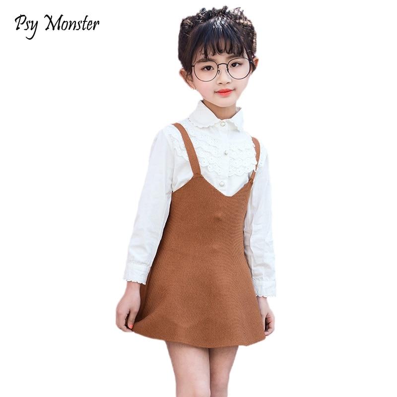 2018 Childrens Skirt Kids Wool Blend Skirt Knit Toddlers Baby Girls Suspender Strap Swing Jumper Skirt Cute Clothes H10