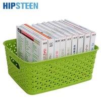 HIPSTEEN Multifunctional Hollow Platic Woven Pattern Kitchen Desk Dresser Storage Basket Box With Handle Green