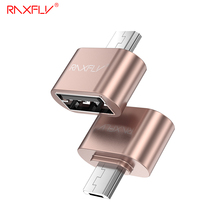 RAXFLY Micro USB OTG Plug For Samsung Huawei Xiaomi HTC Sony Android Phone Micro USB to USB Female 2.0 Plating Metal OTG Adapter