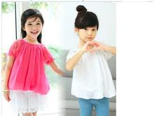 Free shipping New Korean style sweet candy color short-sleeved lace stitching summer blouses for girls