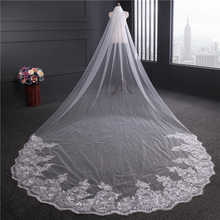 4 Meter White Ivory Cathedral Wedding Veils Long Lace Edge Bridal Veil with Comb Wedding Accessories Bride Wedding Veil - DISCOUNT ITEM  40% OFF Weddings & Events