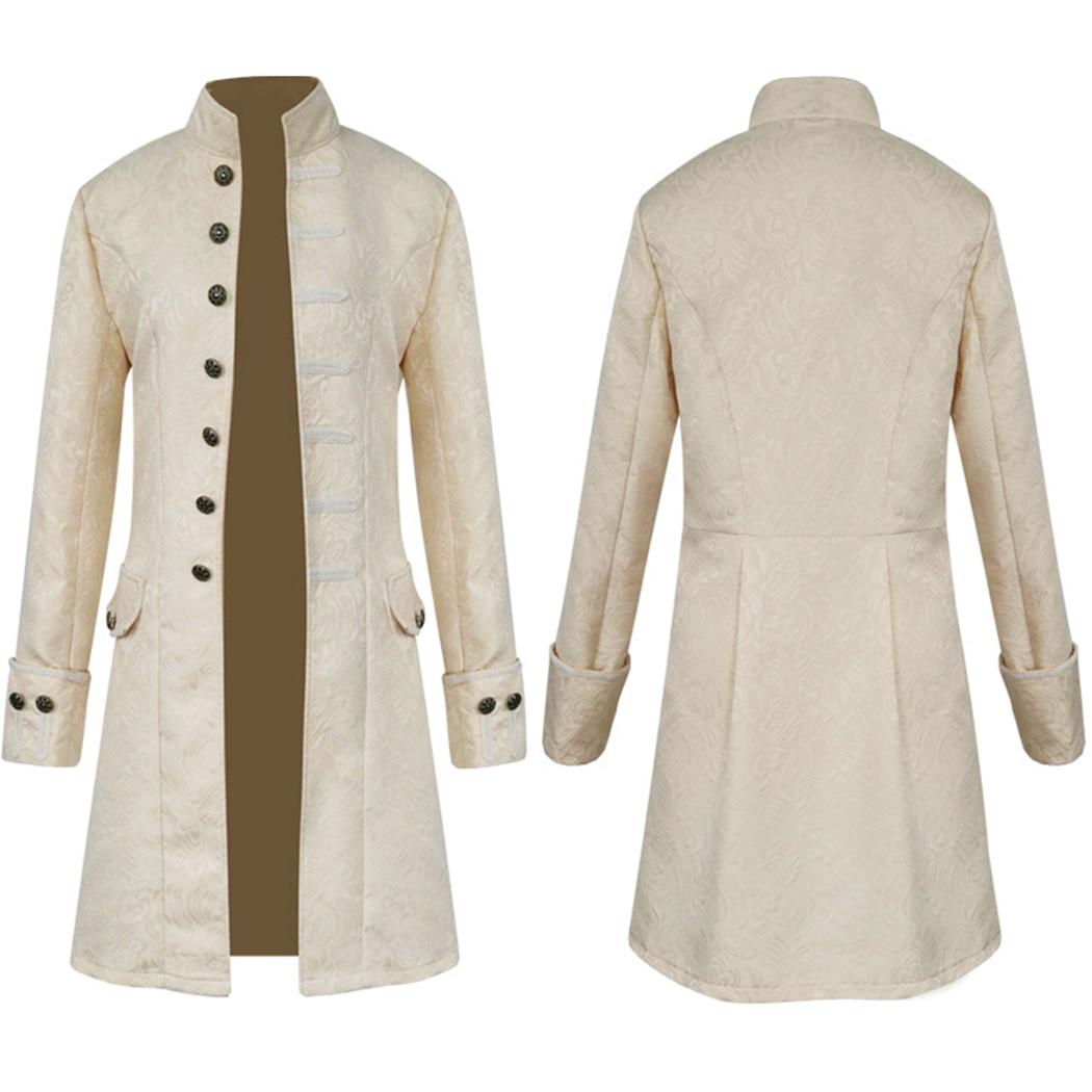 Retro Gothic Brocade Jacket Men Vintage Steampunk Victorian Coat 2018 Fashion Overcoat Male Clothes Halloween Prince Costume