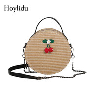 Summer Fashion Women Straw Shoulder Bags Handmade Weave Round Portable Bohemian Mini Handbag For Lady Travel Beach Crossbody Bag