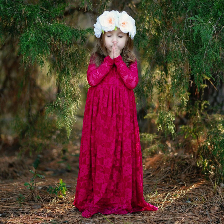 Long Sleeves Lace Mother Daughter Dresses For 2-12 Year Old Ankle-Length Flower Girl Dress for WeddingsKids Graduation Gown beautiful pink floral appliques pleated flower girl dress sheer long sleeves floor length kids communion dresses 2 12 year old