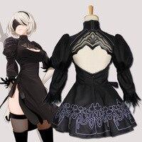 Game Nier Automaten 2B Cosplay YoRHa No. 2 Type B Cosplay black dress Lolita set costume