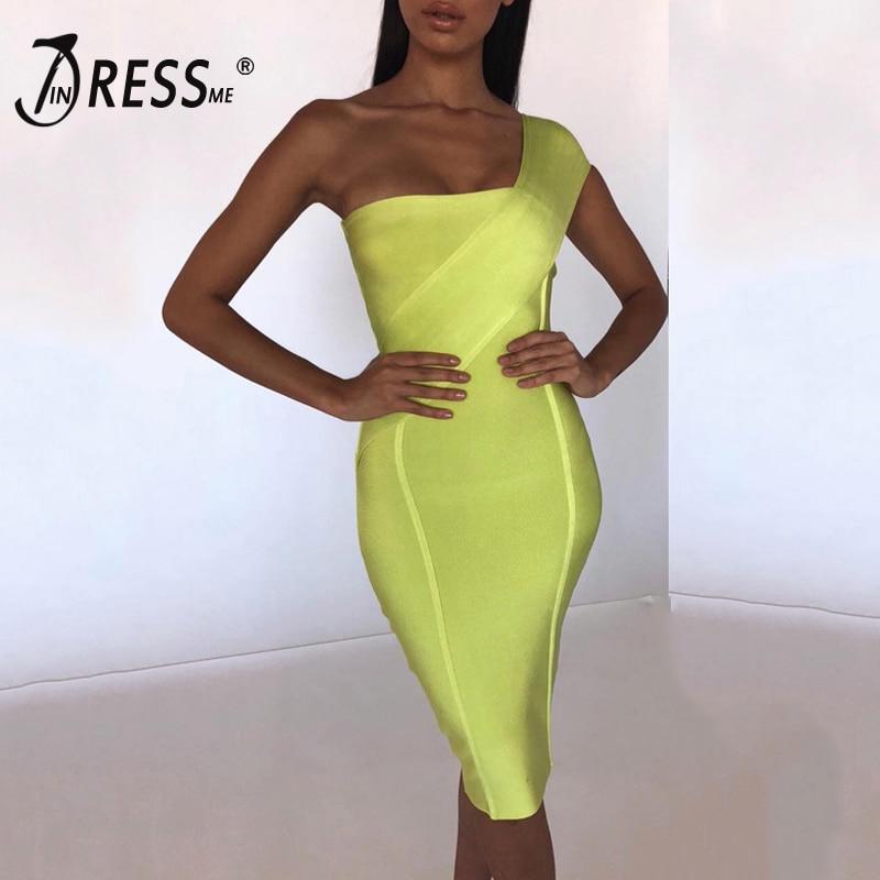 INDRESSME Women Sexy One Shoulder Bodycon Sleeveless Bandage Dress Party Club Dress Vestidos 2019 New Summer