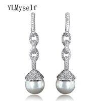 Zwisające Długie kolczyki dla kobiet brincos pendientes aretes 14mm pearl Trendy Biały i Złoty kolor biżuteria dla oświadczenie