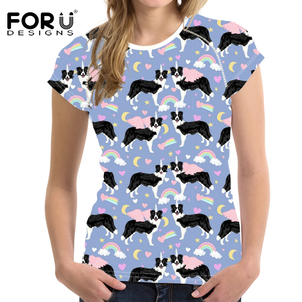 FORUDESIGNS Funny Rainbow Horse Border Collie Printed Girls Summer T Shirts Harajuku O Neck Short Tees Clothes Casual T-shirts