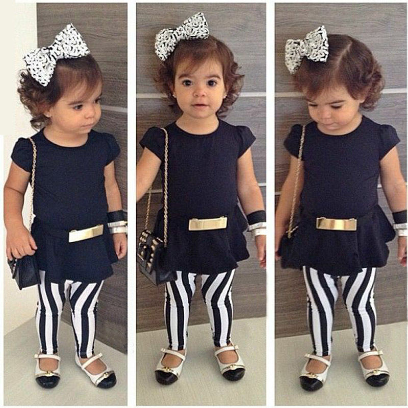 3Pcs Set Kids Clothes Summer Girl Outfits Short Sleeve Top T-shirt+Stripes Pants+Belt For Children's Clothinf Girls Set girls summer dress pullover girl clothes character short sleeve kids outfits 2016 summer style fashion kids t shirt for girls
