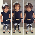 3Pcs Set Kids Clothes Summer Girl Outfits Short Sleeve Top T-shirt+Stripes Pants+Belt For Children's Clothinf Girls Set