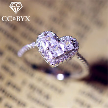 CC уникальные серебряные кольца для женщин в форме сердца Свадебные Романтические кольца для помолвки вечерние кольца белого золота Прямая поставка CC714