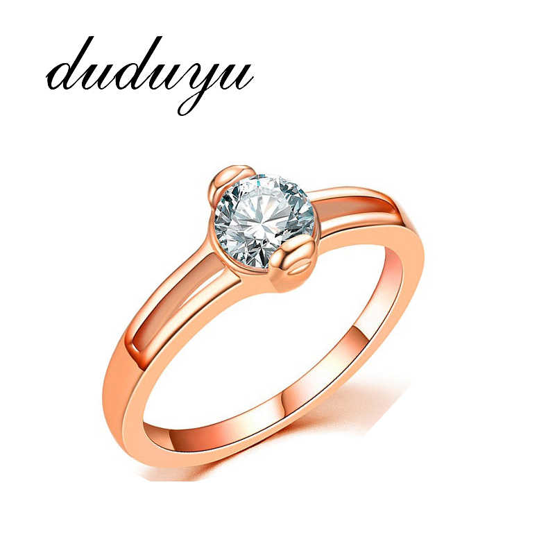 Exquisite Rose Gold Ring Cubic Zirconia Wedding Rings for Women Jewelry Gift  Bride Engagement Wedding Band Rings Size 5 - 10
