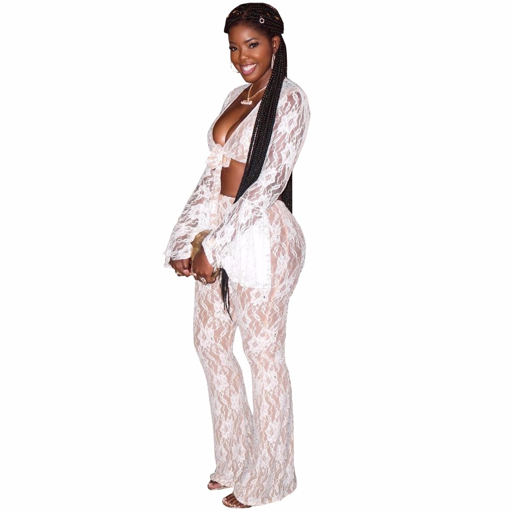 2018 Flower Lace Jumpsuit Women Sexy Perspective Rompers Womens Jumpsuit Fashion Bow 2 Piece Overalls Nightclub Macacao Feminino (5)