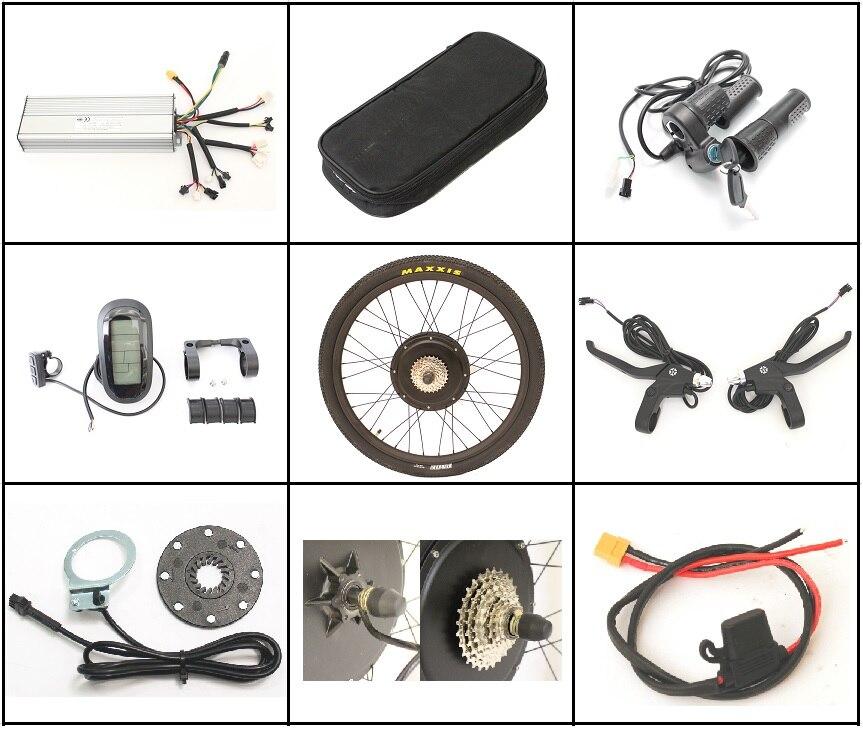 Taxe gratuite sur les Kits de Conversion de vélo électrique EU 36 V ou 48 V 1500 W 26 27.5 28 Kit de moteur sans brosse Ebike de roue arrière avec LCD6