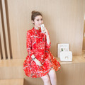 2017 New Chinese Traditional Women Cheongsam Female Cotton Broadcloth Wedding Qipao Oriental Dresses Modern Girl Fashion Dress