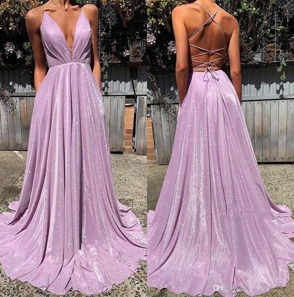 2019 Lavender   Prom     Dresses   Sequin Cloth Criss Cross Open Back V-Neck Party Gowns vestidos de fiesta largos elegantes de gala