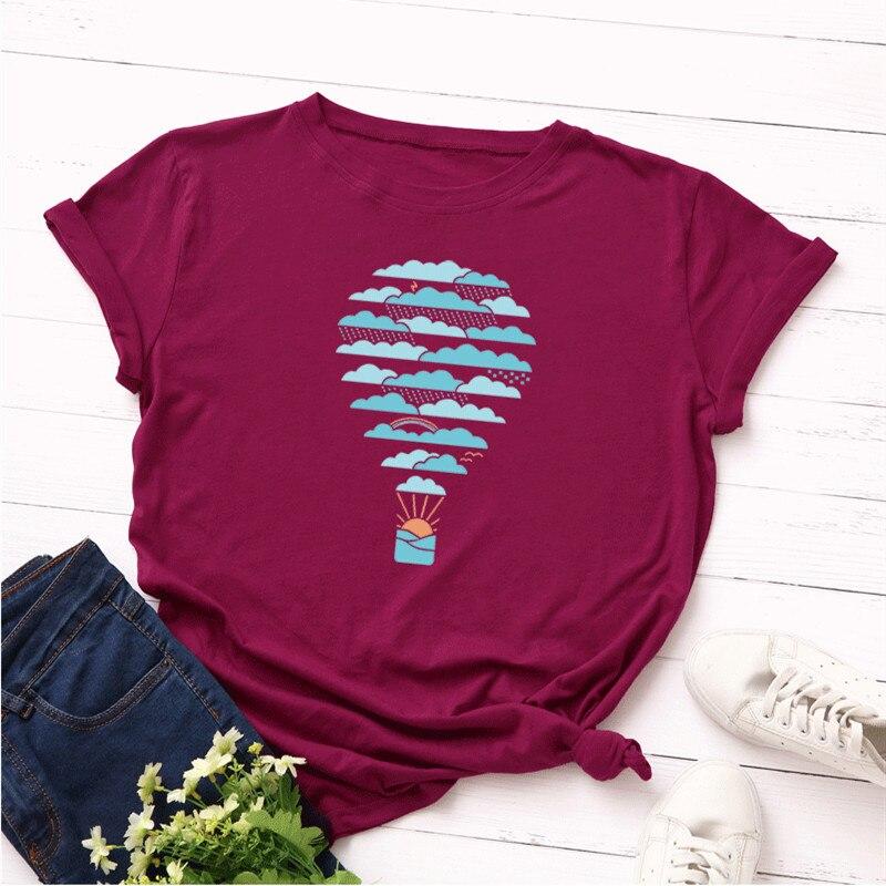 Plus Size S-5XL Weather Hot Air Balloon Print   T     Shirt   Women 100% Cotton O Neck Short Sleeve Summer   T  -  Shirt   Tops Casual Tshirt