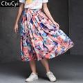 Cbucyi Novo carro Bonito Dos Desenhos Animados Floral Impressão de Cintura Alta Plissada Midi Retro mulheres desfile de moda verão Ocasional Saia de cetim (DG505)