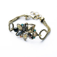 Bulk Price New Style of the Hottest Wholesale Retro Resin Flower Antique Gold Color Bracelet(China)