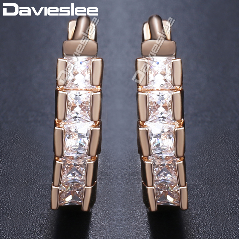 df50d6728 Davieslee Round Stud Earrings For Women Paved Cubic Zirconia CZ 585 Rose  Gold Filled Round Womens
